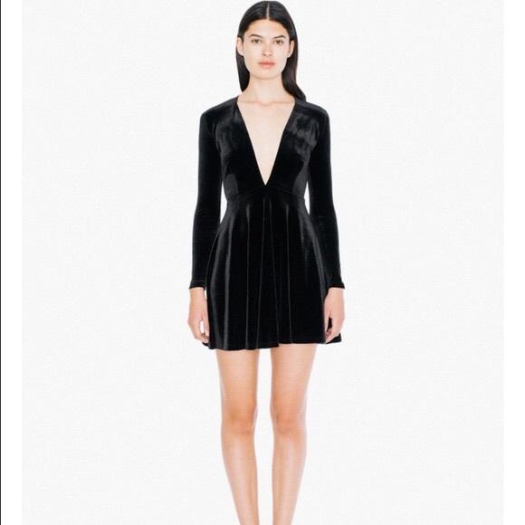 American Apparel Dresses   Skirts - Deep V Long Sleeve Black Velvet Skater  Dress 2a5108573e03